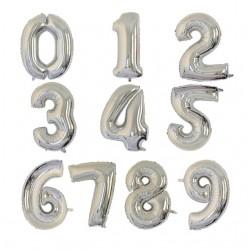 Balónek číslice | Stříbrný