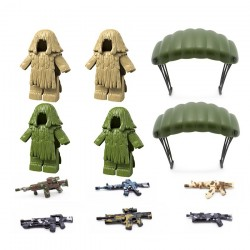 Zbraně | padáky | Maskované obleky pro figurky LEGO 12 ks