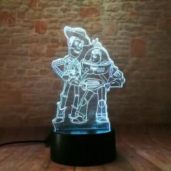 3D LED Lampička Buzz a Woody Toy Story