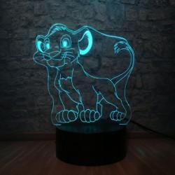 3D LED Lampička Simba Lví král II